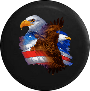 Jeep Liberty Tire Cover With American Eagles Flying