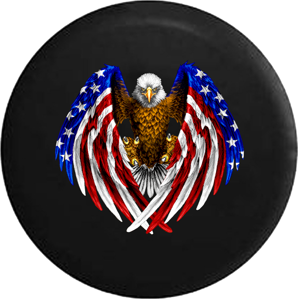 Jeep Wrangler Tire Cover With Bald Eagle American Wings (Wrangler JK, TJ, YJ)