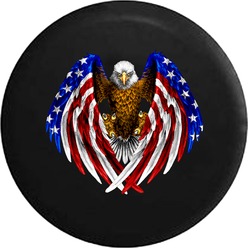 Jeep Liberty Tire Cover With Bald Eagle American Wings