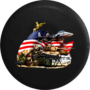 Jeep Wrangler Tire Cover With American Military Armed Forces (Wrangler JK, TJ, YJ)