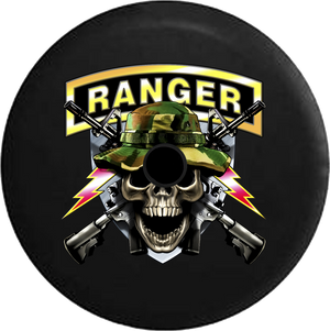 Jeep Wrangler JL Backup Camera Day Army Ranger Skull in Camo Hat Military Rifles Shield RV Camper Spare Tire Cover-35 inch