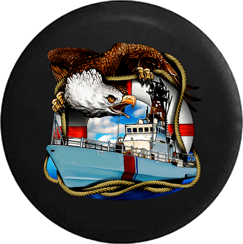 Jeep Wrangler Spare Tire Cover With US Coast Guard (Wrangler JK, TJ, YJ)