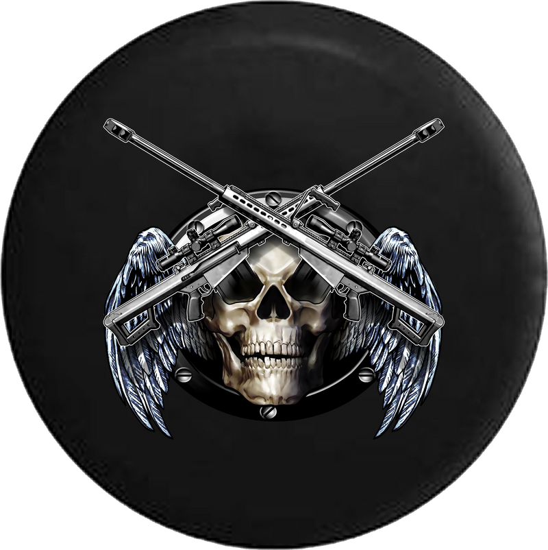 Jeep Liberty Tire Cover With Skull Crossed Snipers