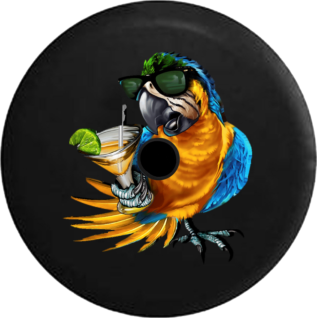 Jeep Wrangler JL Backup Camera Day Tropical Parrot Macaw with Sunglass & Cocktail RV Camper Spare Tire Cover-35 inch