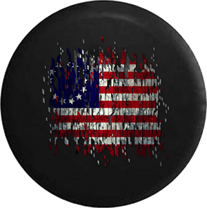 Jeep Liberty Spare Tire Cover With Vintage 13 Star American Flag Distressed Print