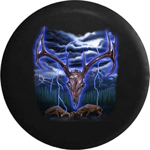 Deer Antler Skeleton Fighting Bucks Stormy Night RV Camper Spare Tire Cover-35 inch