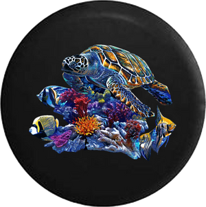 Sea Turtle by Coral Reef and Tropical Fish RV Camper Spare Tire Cover-35 inch