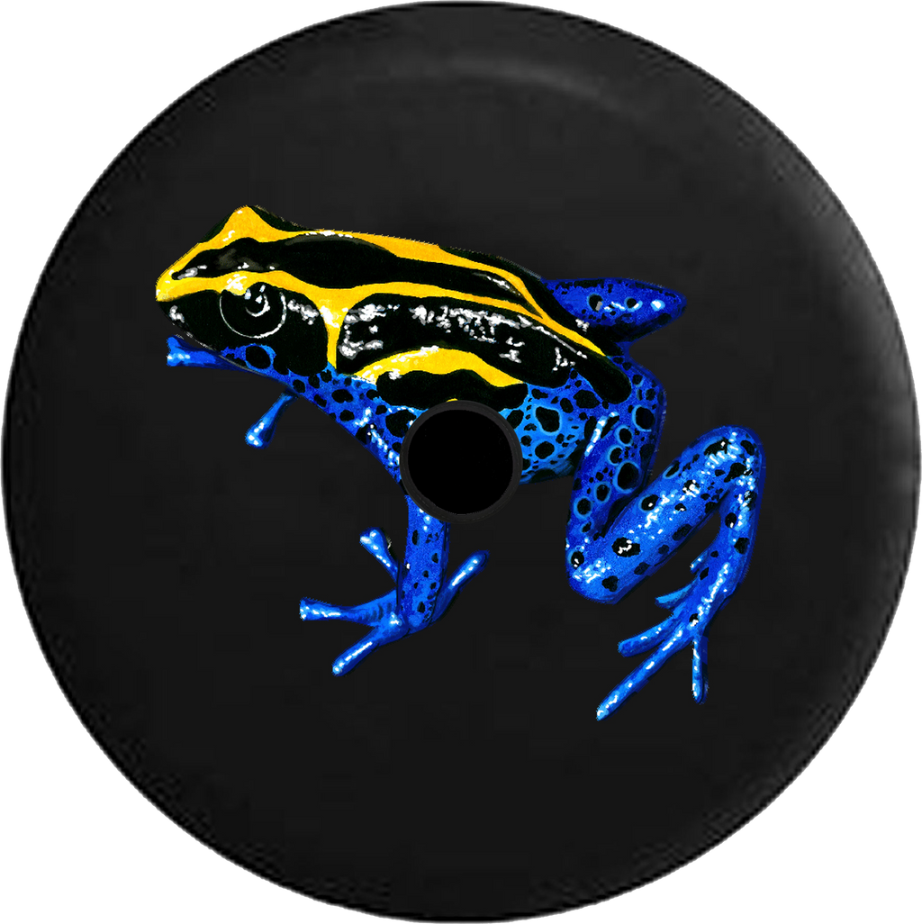 Jeep Wrangler JL Backup Camera Day Tropical Tree Frog Blue Yellow and Black RV Camper Spare Tire Cover-35 inch