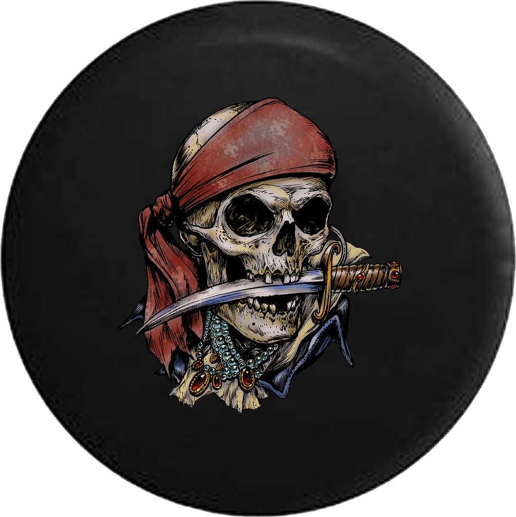 Pirate Skeleton with Sword and Treasure RV Camper Spare Tire Cover-35 inch