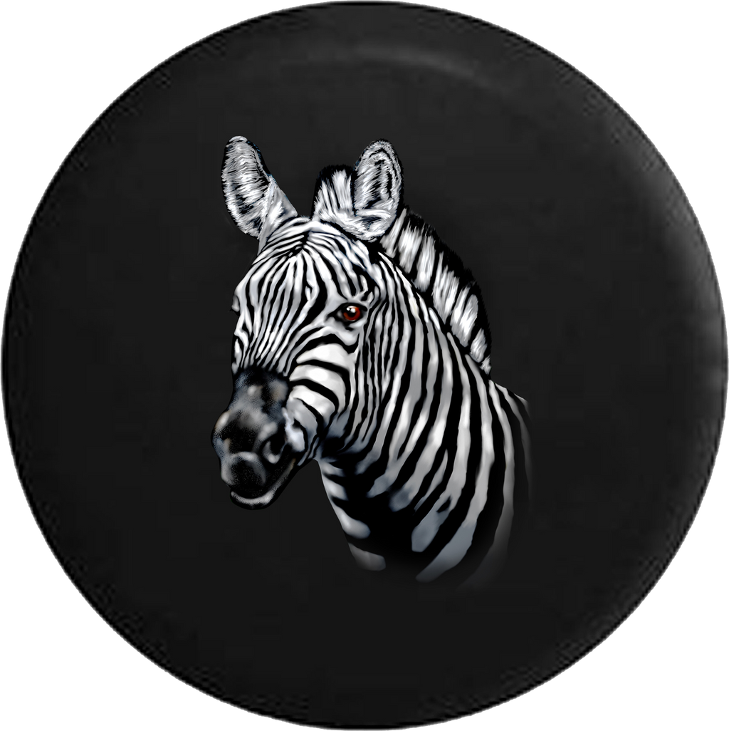 African Zebra White and Black Striped Portait Style RV Camper Spare Tire Cover-35 inch