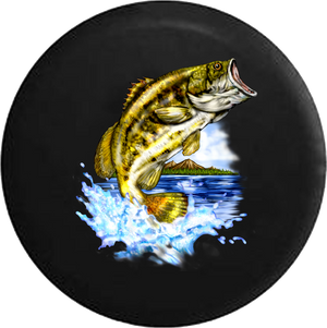 Bass Fish Leaping from the Lake Fishing RV Camper Spare Tire Cover-35 inch