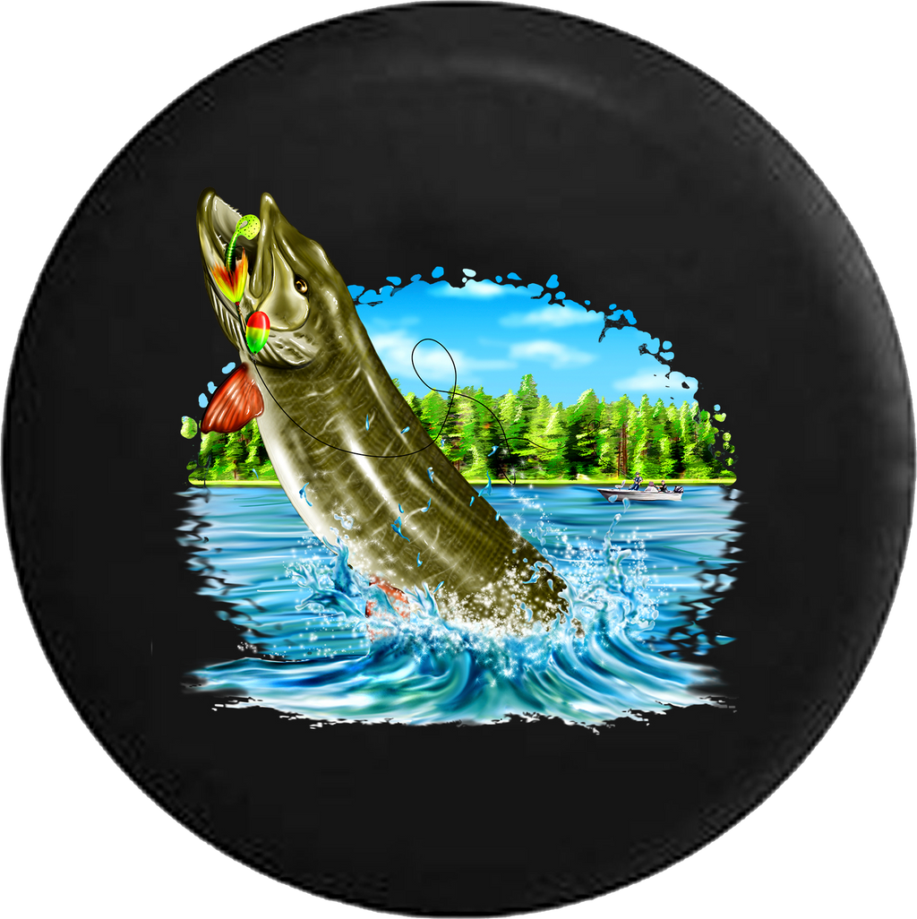 Muskie Pike Fish Leaping from the Lake Fishing RV Camper Spare Tire Cover-35 inch