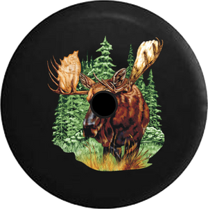 Jeep Wrangler JL Backup Camera Day Moose in the Great Wilderness Giant Antlers RV Camper Spare Tire Cover-35 inch