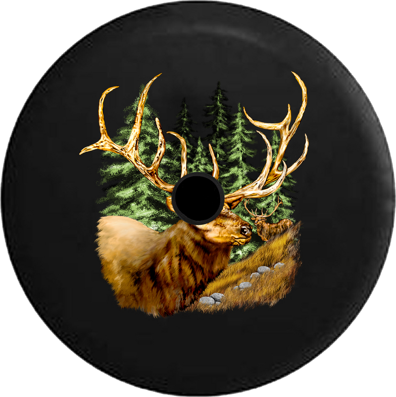 Jeep Wrangler JL Backup Camera Day Elk in the Woods with Giant Antlers RV Camper Spare Tire Cover-35 inch