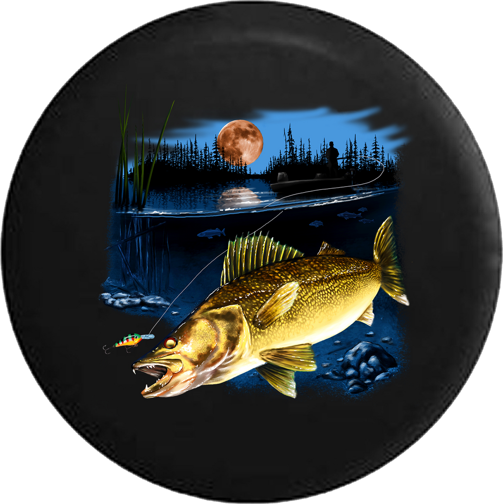 Walleye Fish in the Lake Fishing Lure Night Full Moon RV Camper Spare Tire Cover-35 inch