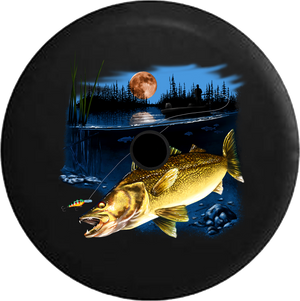 Jeep Wrangler JL Backup Camera Day Walleye Fish in the Lake Fishing Lure Night Full Moon RV Camper Spare Tire Cover-35 inch