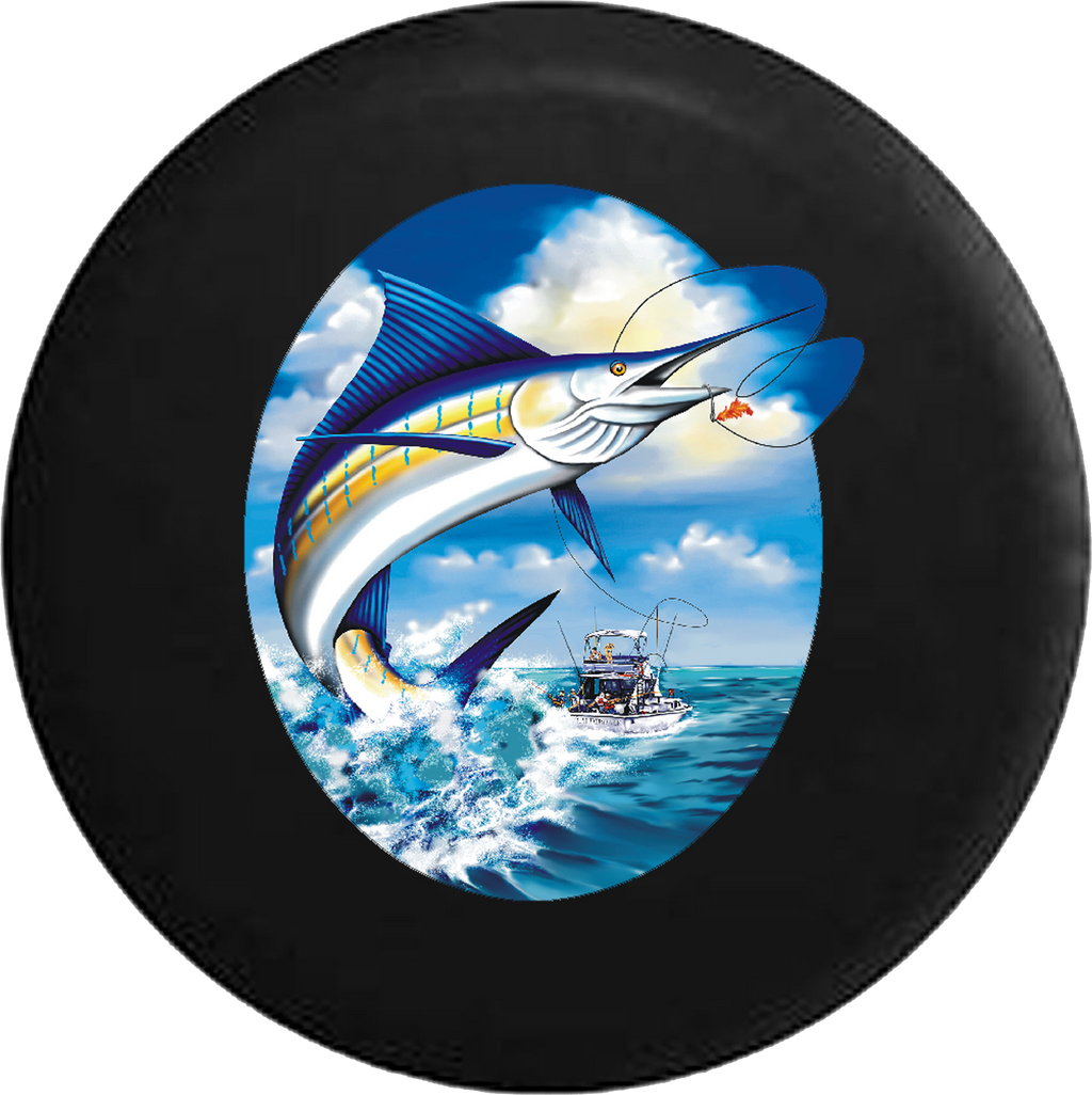 Marlin Leaping after Fishing Lure on Charter RV Camper Spare Tire Cover-35 inch