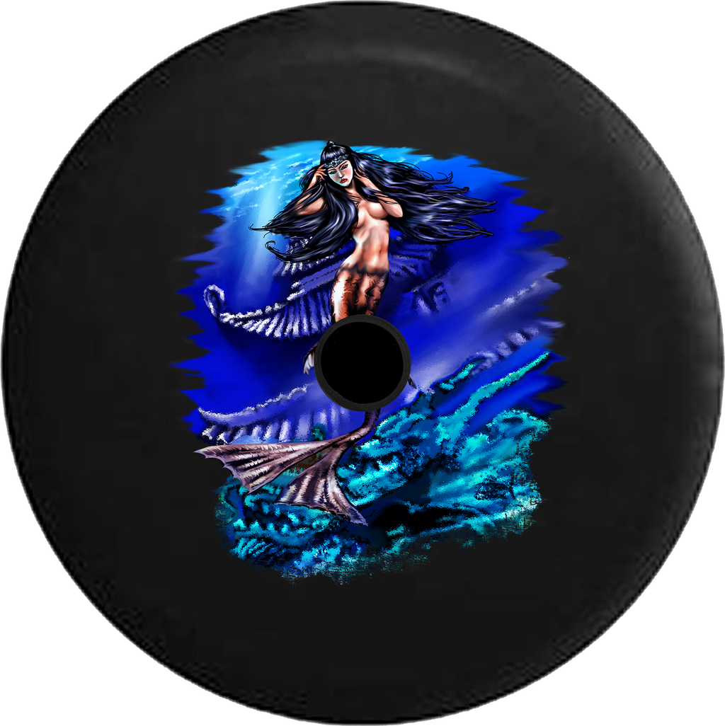 Jeep Wrangler JL Backup Camera Day Mermaid Princess in the Ocean Atlantis RV Camper Spare Tire Cover-35 inch