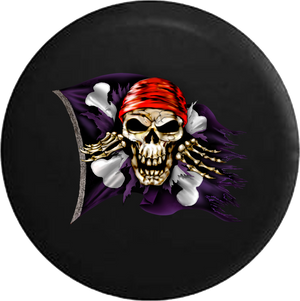 Pirate Skull & Crossbones Flag Tattered Ripped and Torn RV Camper Spare Tire Cover-35 inch