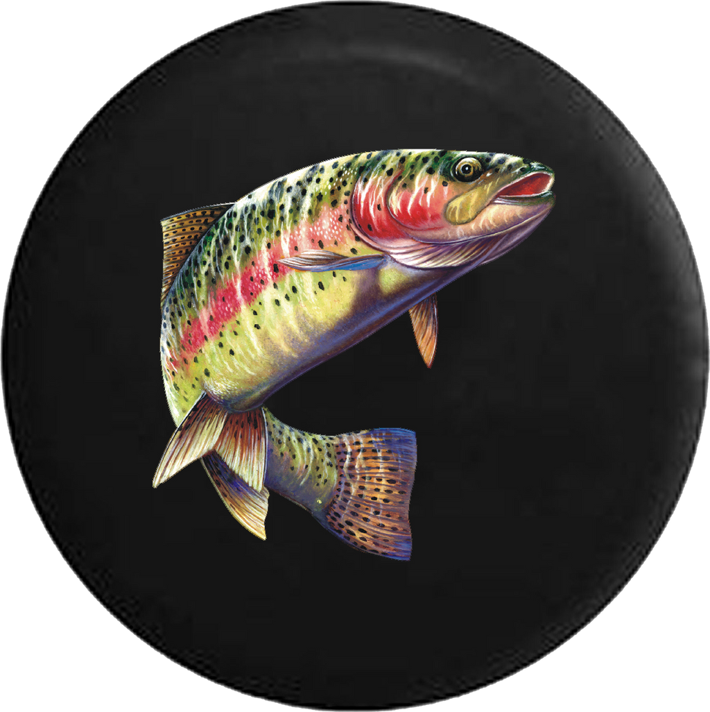 Rainbow Trout Leaped out of Lake Fish Fishing RV Camper Spare Tire Cover-35 inch