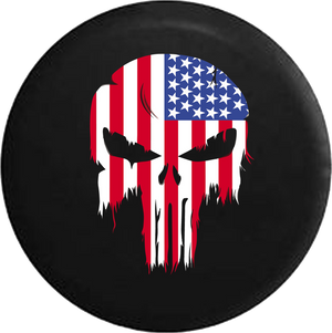 Tattered American Flag Punisher Skull RV Camper Spare Tire Cover-35 inch