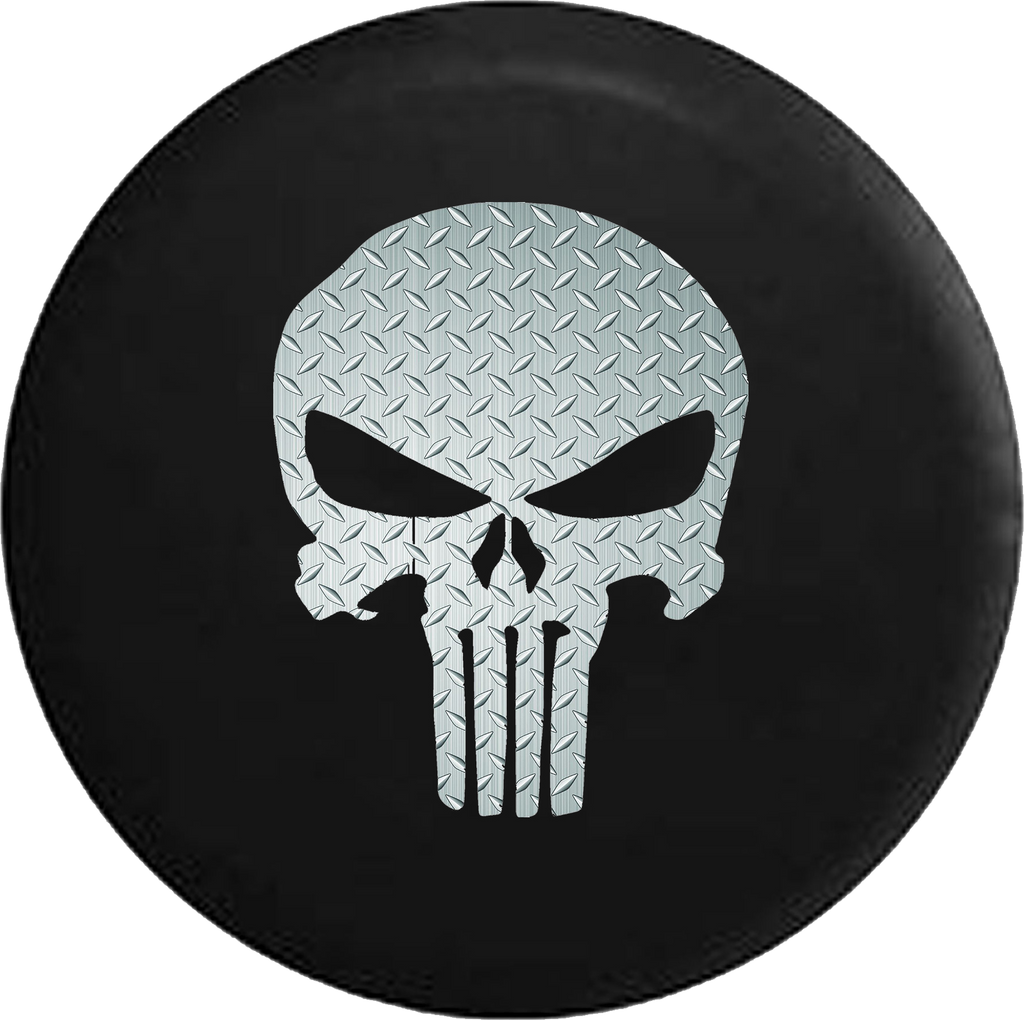 Brushed Steel Diamond Plate American Patriot Punisher Skull RV Camper Spare Tire Cover-35 inch