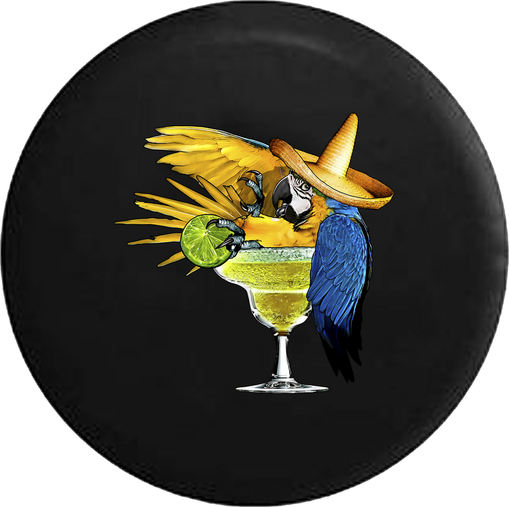 Parrot in Margarita Glass Tropical Beach Vacation