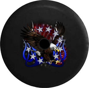 Jeep Wrangler JL Backup Camera Day Stars & Stripes American Eagle Tribal Flames Vintage Cracked RV Camper Spare Tire Cover-35 inch