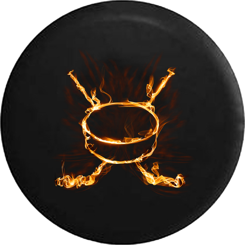 Flaming Realistic Fire Hockey Stick & Puck RV Camper Spare Tire Cover-35 inch
