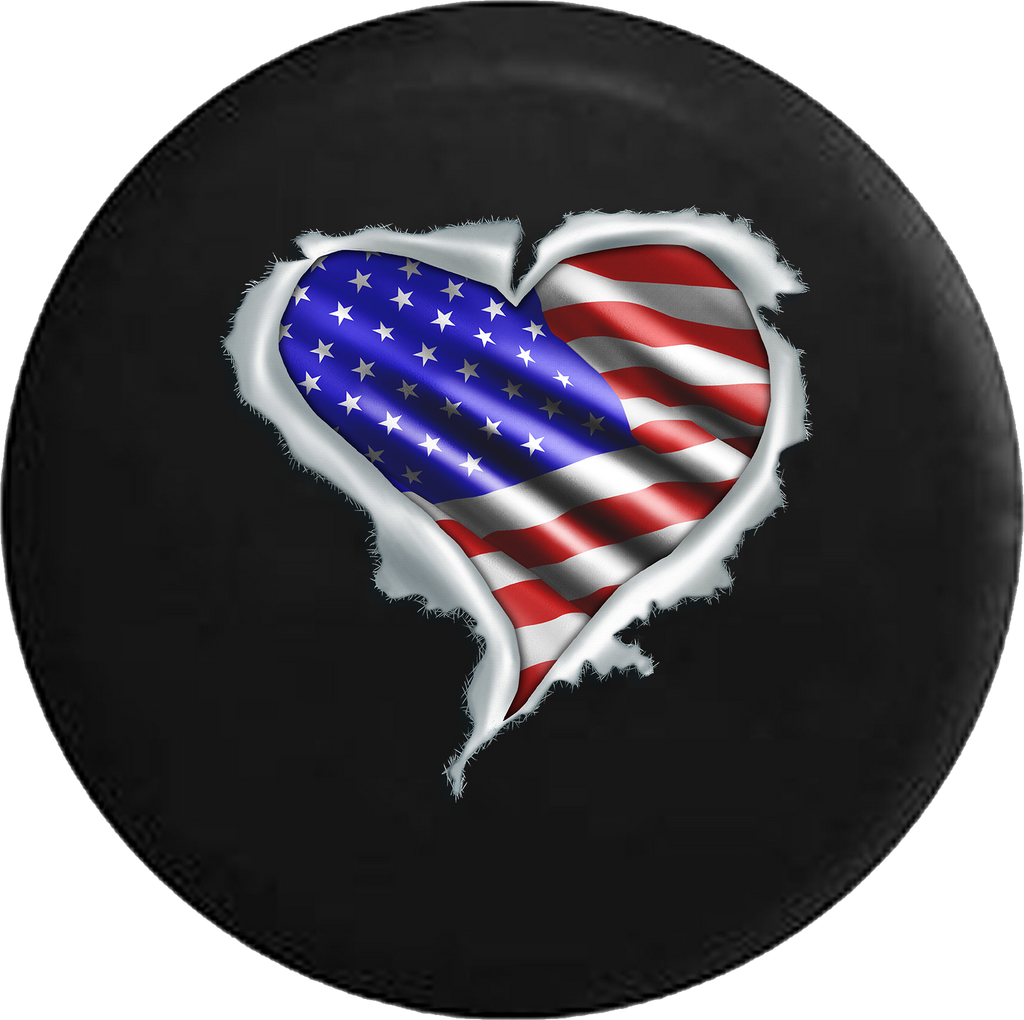 American Flag Heart Ripping Thru RV Camper Spare Tire Cover-35 inch
