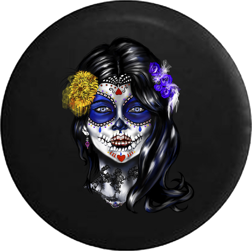 Beautiful Sugar Skull Girl Mexican Latin RV Camper Spare Tire Cover-35 inch