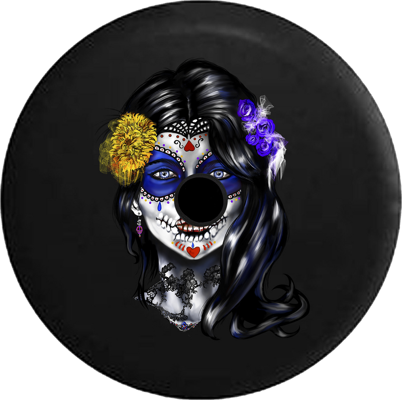 Jeep Wrangler JL Backup Camera Day Beautiful Sugar Skull Girl Mexican Latin RV Camper Spare Tire Cover-35 inch