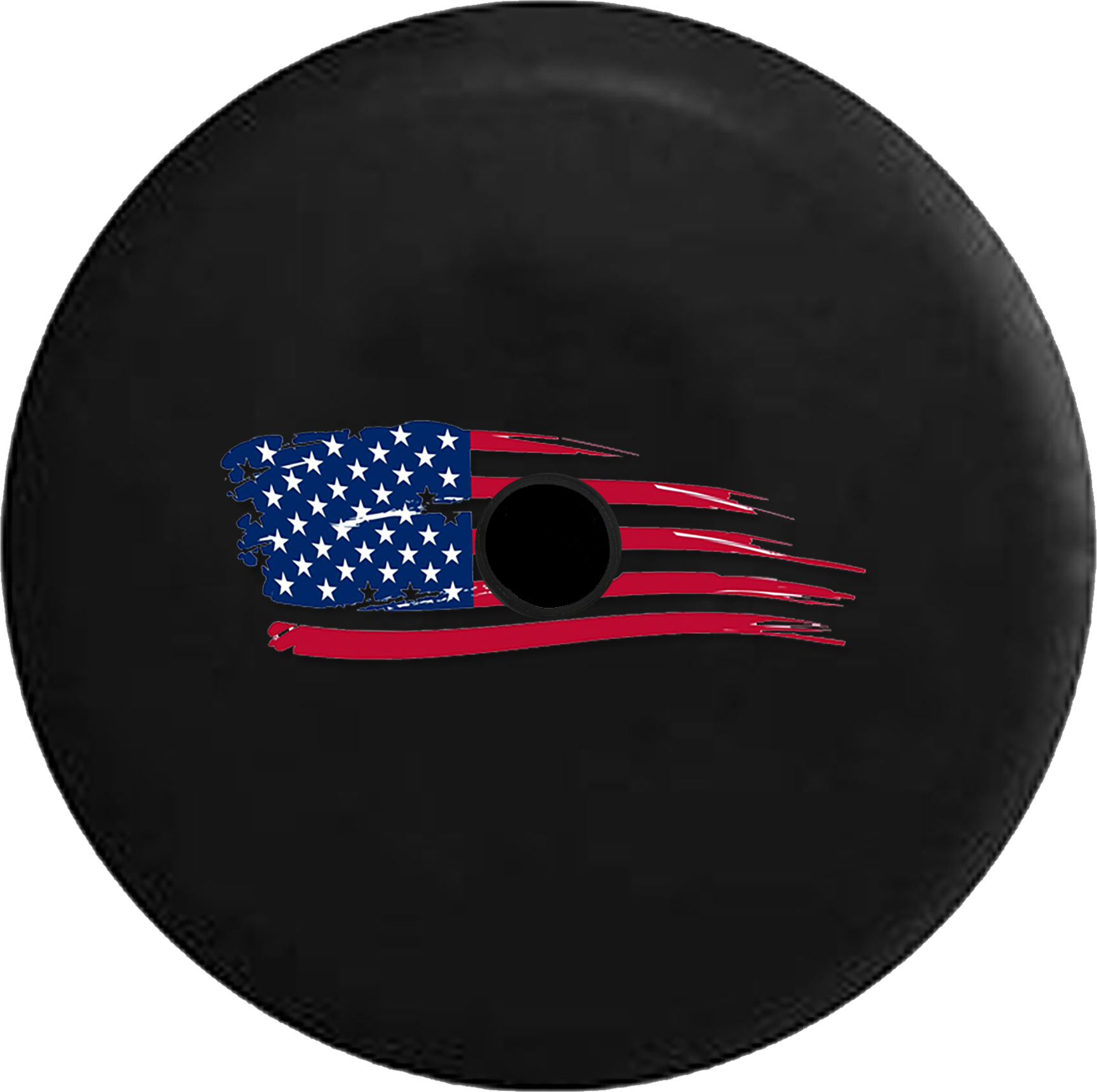 Jeep Wrangler JL Backup Camera Day Vintage Distressed American Flag Painted  Look RV Camper Spare Tire Cover-BLACK-CUSTOM SIZE/COLOR/INK