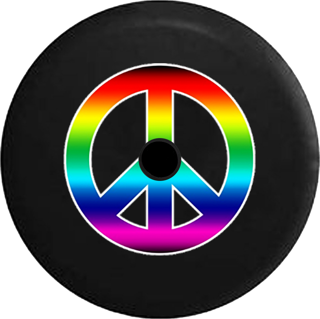 Jeep Wrangler JL Backup Camera Day Rainbow Colorful Peace Sign Gay RV Camper Spare Tire Cover-33 inch