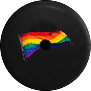 Jeep Wrangler JL Backup Camera Day Gay Pride LGBT Waving Flag RV Camper Spare Tire Cover-35 inch