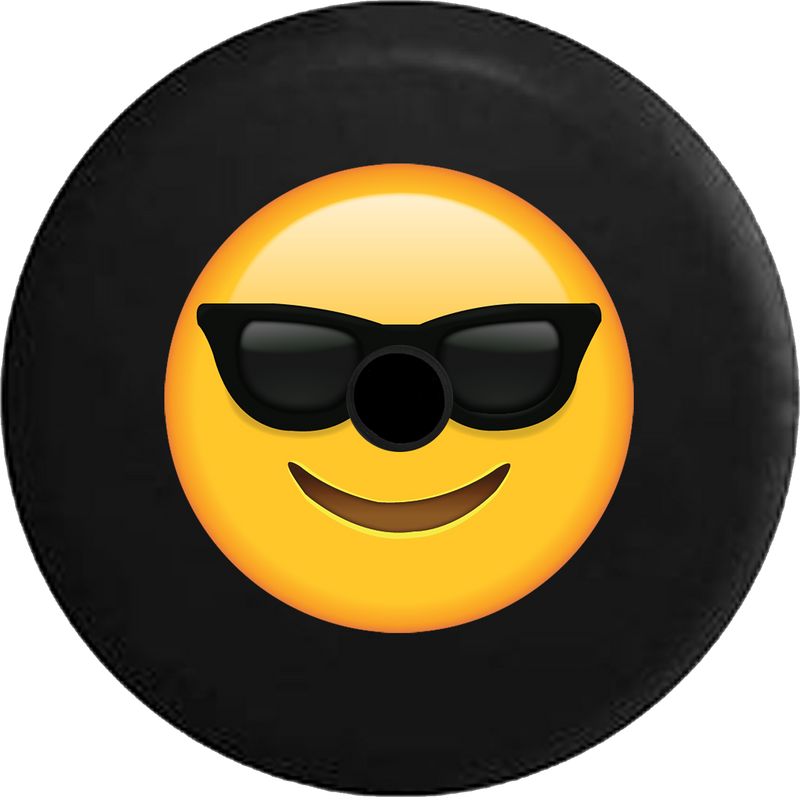 Jeep Wrangler JL Backup Camera Day Text Emoji Smiling Face Sunglasses Cool Summer RV Camper Spare Tire Cover-BLACK-CUSTOM SIZE/COLOR/INK