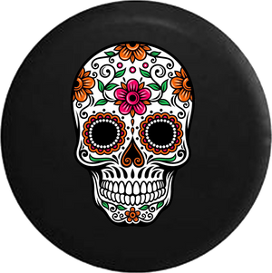 Sugar Skull Orange Pink Green