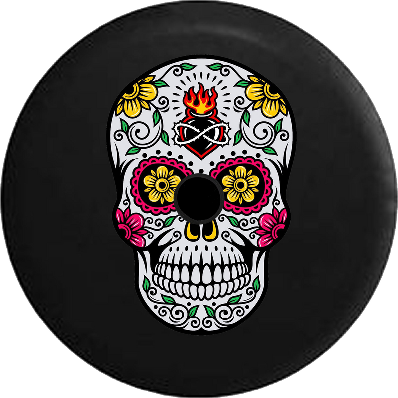 Jeep Wrangler JL Backup Camera Day Sugar Skull Tattoo Rose Heart Eyes RV Camper Spare Tire Cover-35 inch
