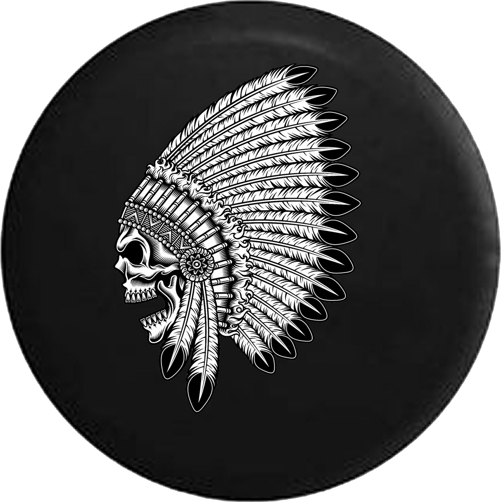 American Indian Chief Skull Feathers