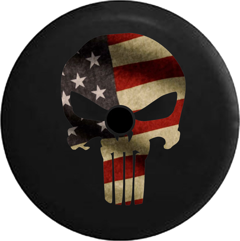 Jeep Wrangler JL Backup Camera Day American Patriot Punisher Skull Fire Flames RV Camper Spare Tire Cover-35 inch