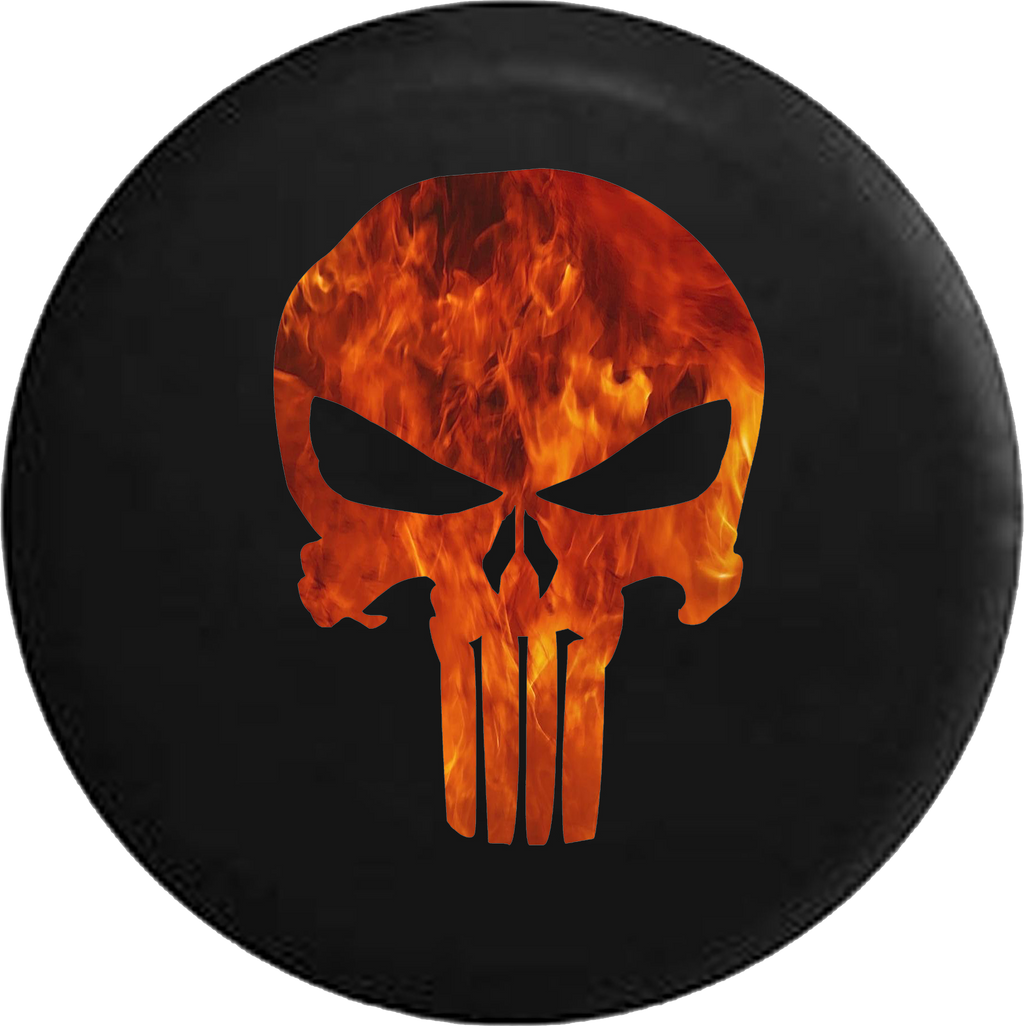 American Patriot Punisher Skull Fire Flames