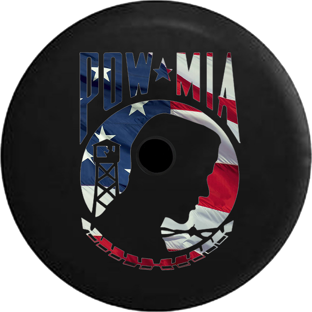 Jeep Wrangler JL Backup Camera Day Distressed Bard Wood POW MIA Veteran Military RV Camper Spare Tire Cover-35 inch
