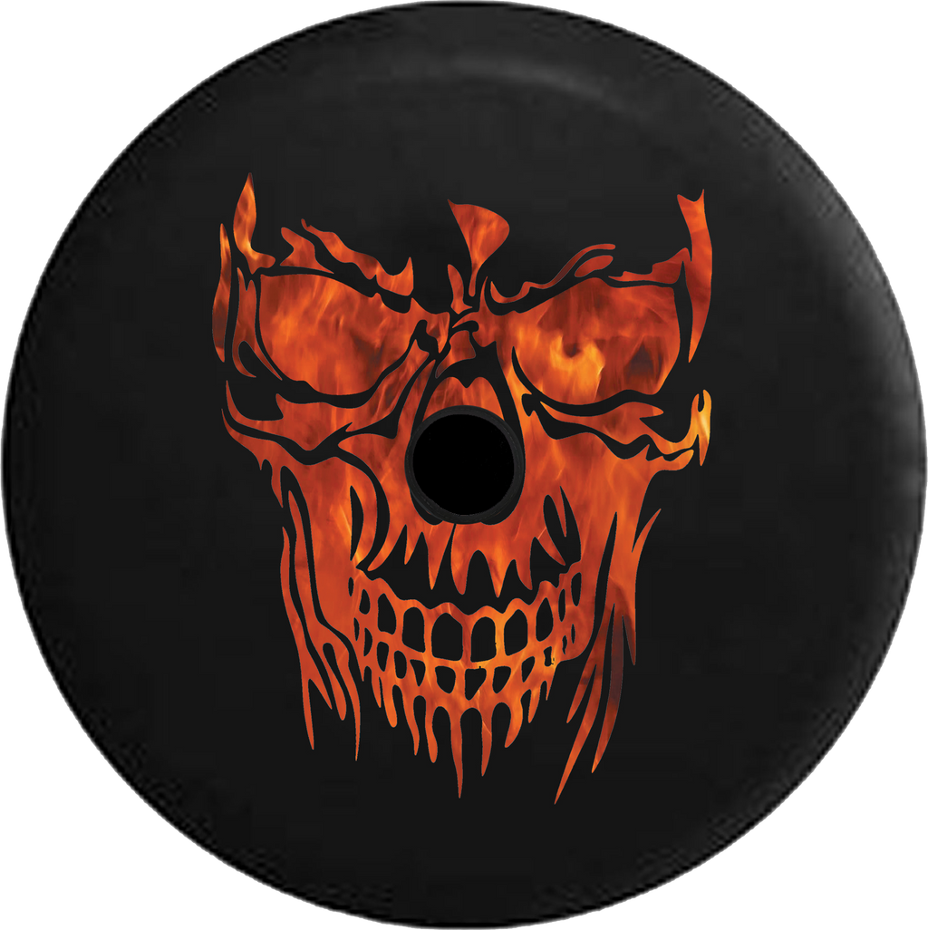 Jeep Wrangler JL Backup Camera Day Smoked Out Grinning Skull Face RV Camper Spare Tire Cover-35 inch