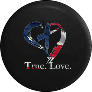 True Love Christian Cross in Heart God American Flag