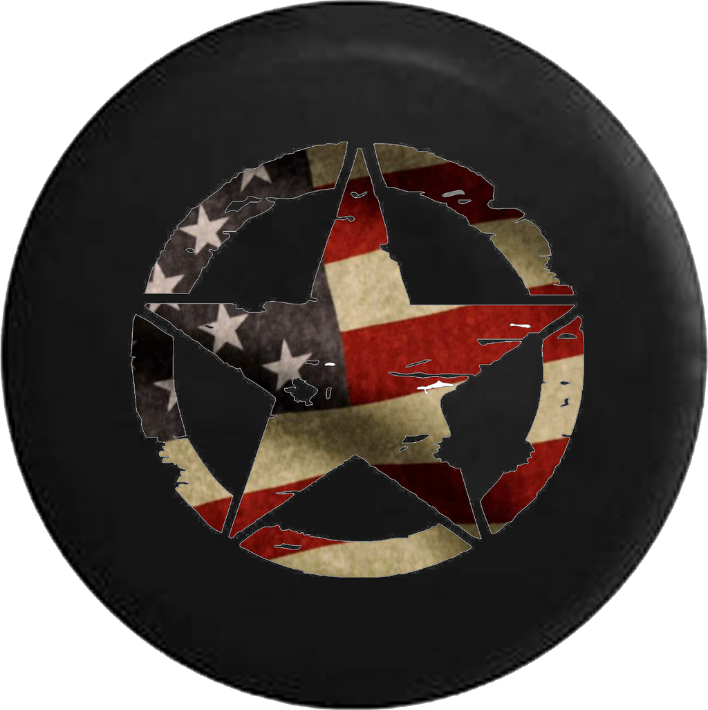 Oscar Mike Military Jeep Star Vintage Tire Cover