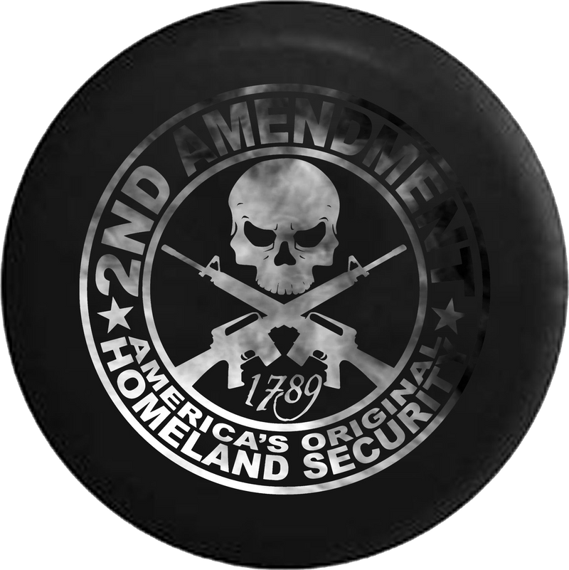 Jeep Wrangler Spare Tire Cover With 2nd Amendment Homeland Security Print (Wrangler JK, TJ, YJ)