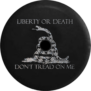 Jeep Wrangler JL Backup Camera Day Liberty or Death Don't Tread on Me Snake Brushed Steel RV Camper Spare Tire Cover-35 inch