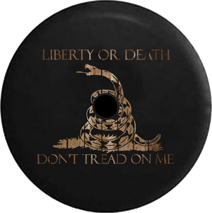 Jeep Wrangler JL Backup Camera Day Liberty or Death Don't Tread on Me Snake Dark Smoke RV Camper Spare Tire Cover-35 inch
