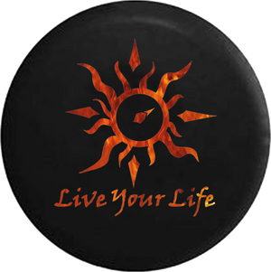Live Your Life Tribal Sun Compass Flames Fire