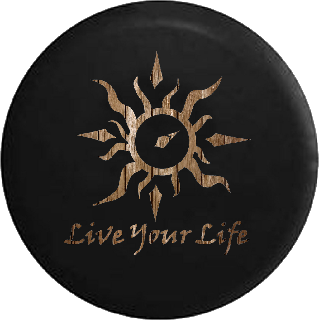Live Your Life Tribal Sun Compass Distressed Wood